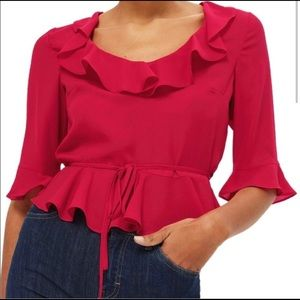 Topshop hot pink ruffle blouse